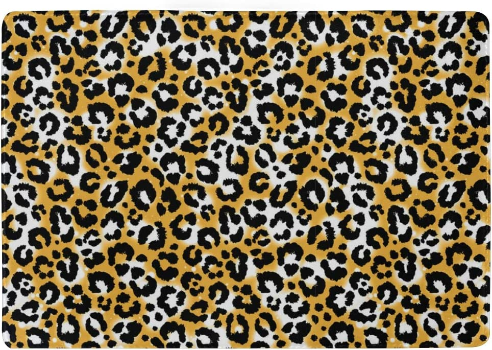 White Yellow Leopard Print Leather Passport Holder Cover Case Blocking Travel Wallet