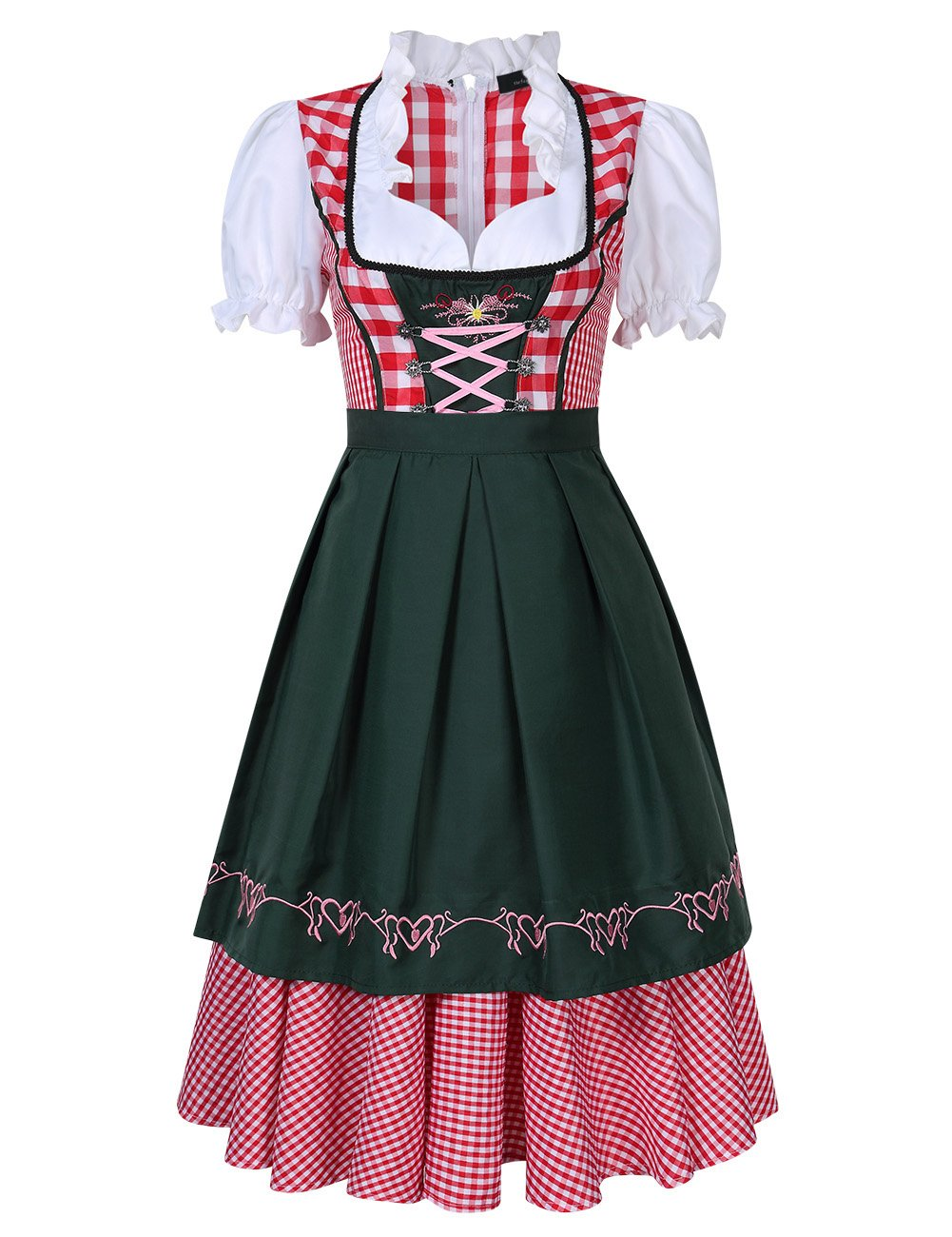 Leoie Women's Beer Festival Dress Suit Plaid Ruched Short Sleeve Holiday Party Dress for Oktoberfest Red 42
