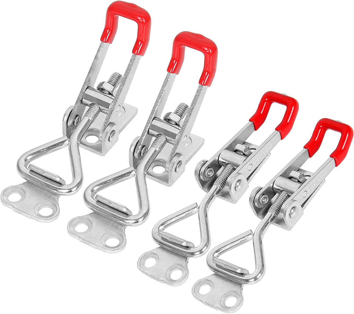 Jigs AConnet 16 Pcs Adjustable Toggle Clamp 4001 Style Quick Release Toggle Latch Clamp Antiskid Red Hasp Clamp Hand Tool 360Lbs Holding Capacity Quick Release Tool for Door Lid Trunk