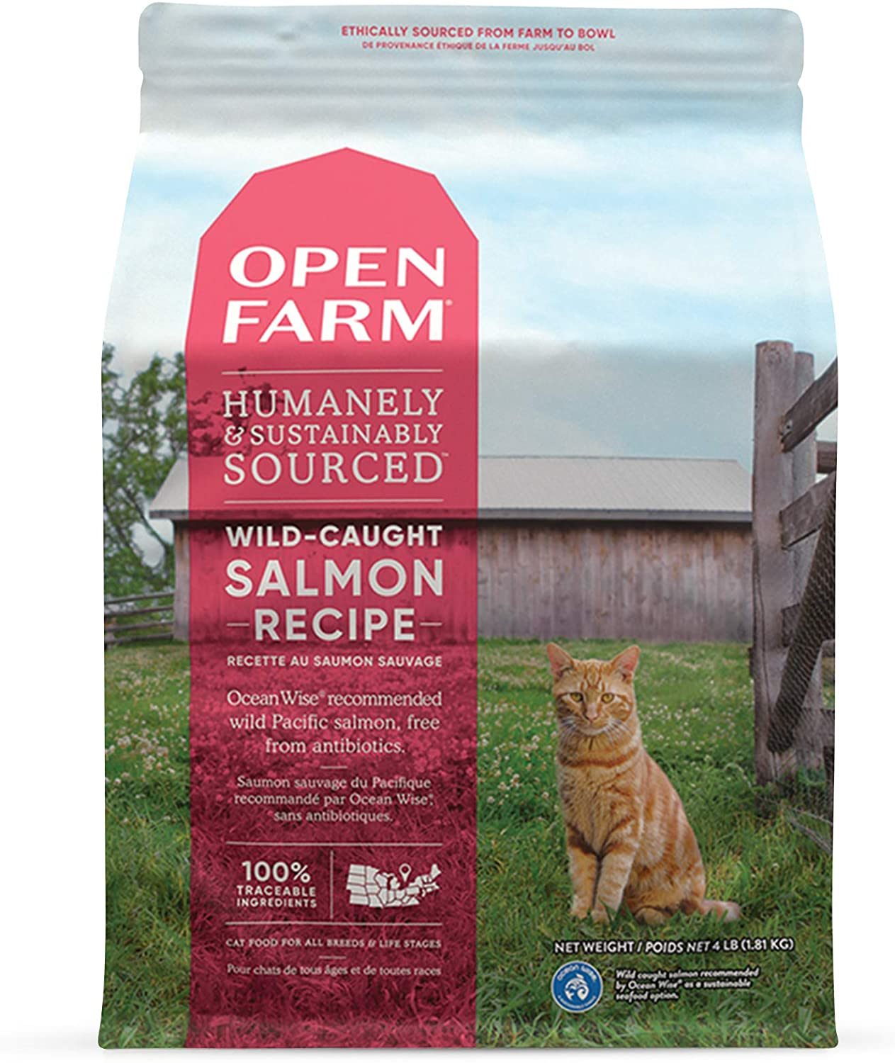 Open Farm Wild-Caught Salmon Grain-Free Dry Cat Food, Responsibly Sourced Pacific Salmon Recipe with Non-GMO Superfoods and No Artificial Flavors or Preservatives, 4 lbs