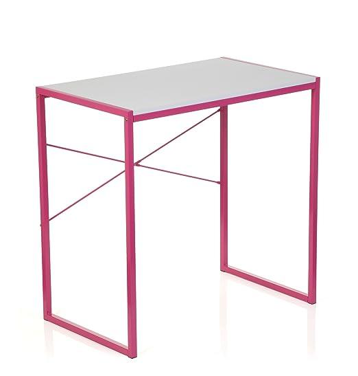 hjh OFFICE Escritorio/Mesa de Ordenador Easy UP Rosa/Blanco ...