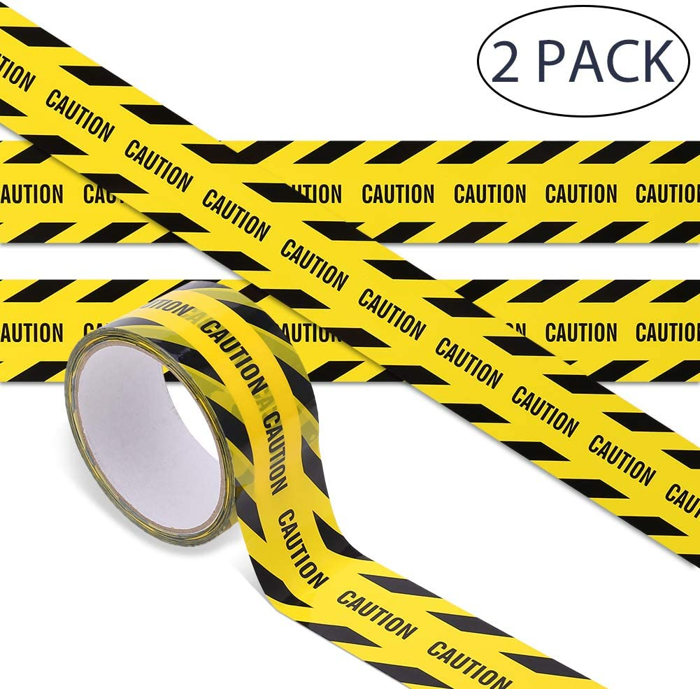 164Ft Thursday April 2 Rolls Warning Tape Adhesive Safety Strips Tape Black Yellow Barricade Tape with Text Maximum Readability for Danger Areas