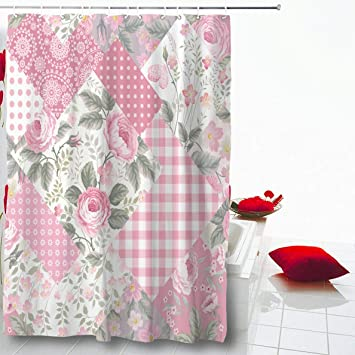 Red Roses Floral Background and Butterfly Waterproof Fabric Shower Curtain Liner