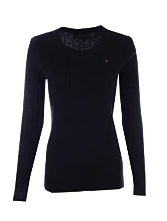 Tommy Hilfiger Womens Scoop Neck Cable Knit Sweater (X-Small, Black)