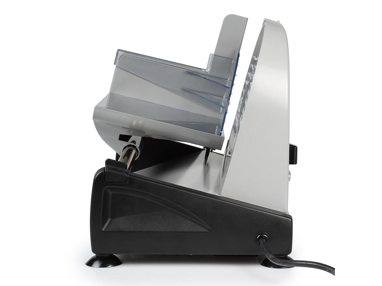 Tristar fiambres EM-2099 Cortafiambres-Grosor de Corte hasta 1,5 cm, Cuchilla de 19 cm, 150 W, Steel, Negro, Plata