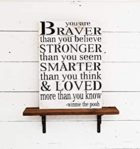 Beach Frames Rustic Wood Quotes Perfect for Boys or Girls Room Decor Winnie The Pooh Your are Braver Than You Believe Inspirational Wall Art Sign, Large, White Washed