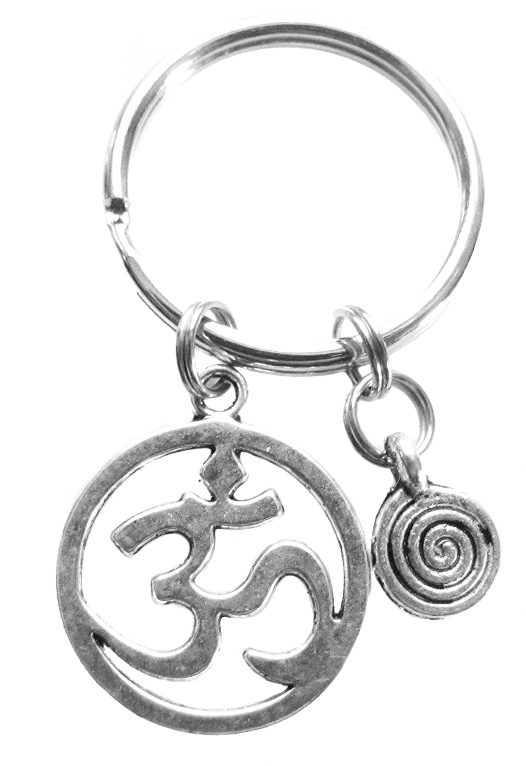 Om Aum Ohm and Spiral Yoga Reiki Key Chain