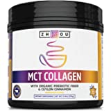 Zhou Nutrition MCT Collagen Powder - Quick Energy, Prebiotic Fiber & Ceylon Cinnamon 13.3 Oz