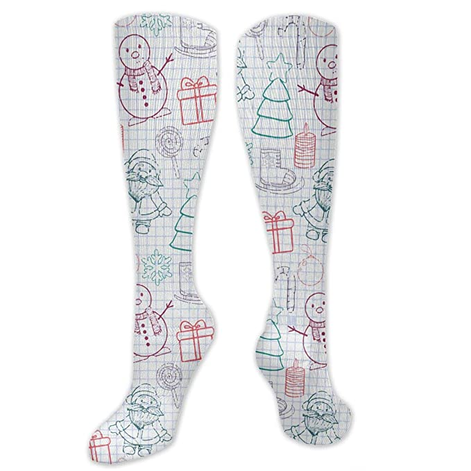 e52323e0f8bf Amazon.com: Colorful Cool Fun Cosplay Socks Happy New Year And Merry  Christmas High Stockings For Women: Clothing