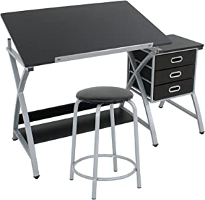 ZENY Tabletop Tilted Drawing Drafting Table Craft Drafting Desk Board Art Workstation w/ 2 Slide Drawers & Stool,Tabletop Adjustable,Art Craft Supplies
