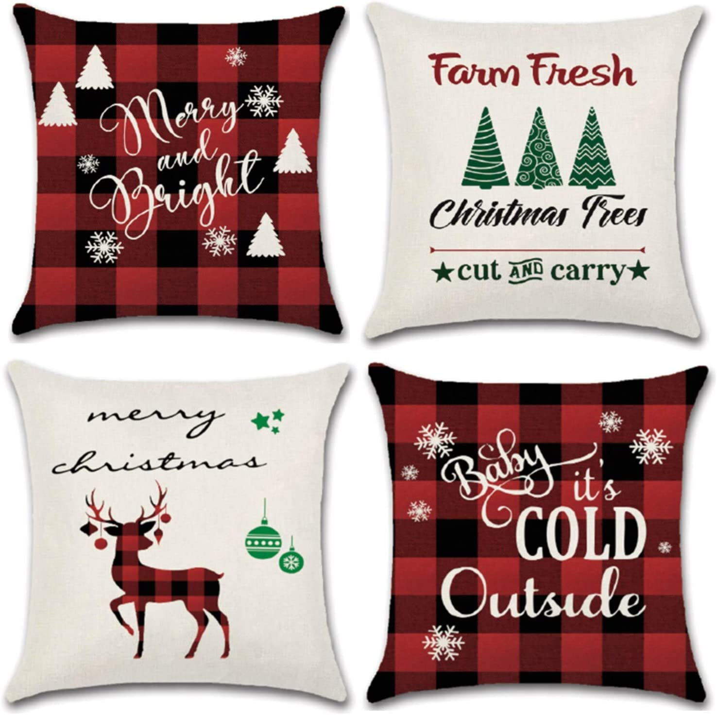 YHmall 4 Pcs Christmas Pillow Covers 18 x 18, Decorative Holiday Christmas Throw Pillow Covers Christmas Decor (red)
