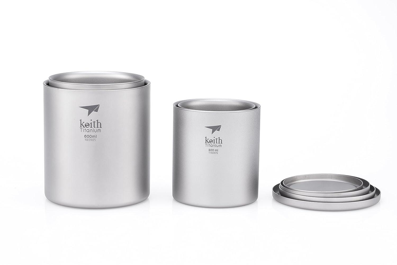 Keith Titanium Ti3302 Double-Wall Mug with Lid 10.1 fl oz