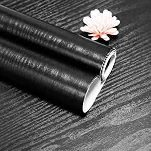 """17.7""""x118"""" Black Wallpaper Real Wood Grain Peel and Stick Paper Black Wood Adhesive Paper Decorative Self-Adhesive Film for Furniture Cabinet Thicken Removable Wood Texture Countertop Wallpaper Vinyl"""