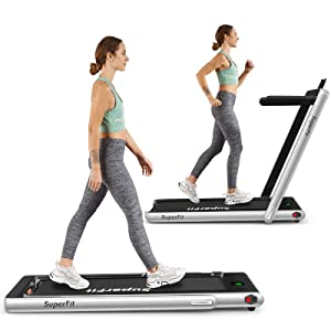 Goplus 2 in 1 Folding Treadmill, 2.25HP Under Desk Electric Treadmill