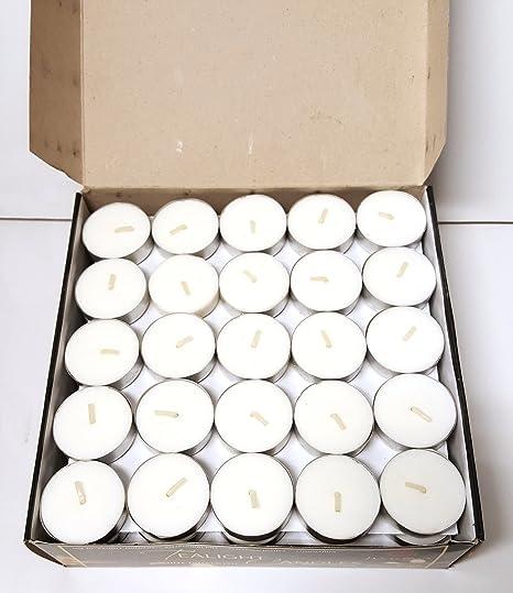 Pure Source India Wax Tea Light Candle (White, Set of 100) Smokeless Candles