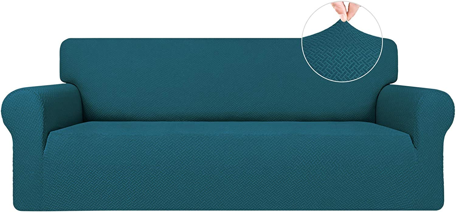 Easy-Going Stretch Jacquard Couch Cover, 1-Piece Soft Sofa Cover, Sofa Slipcover with Anti-Slip Foams, Washable Furniture Protector for Kids, Dogs, Cats ( Sofa, PeacockBlue)