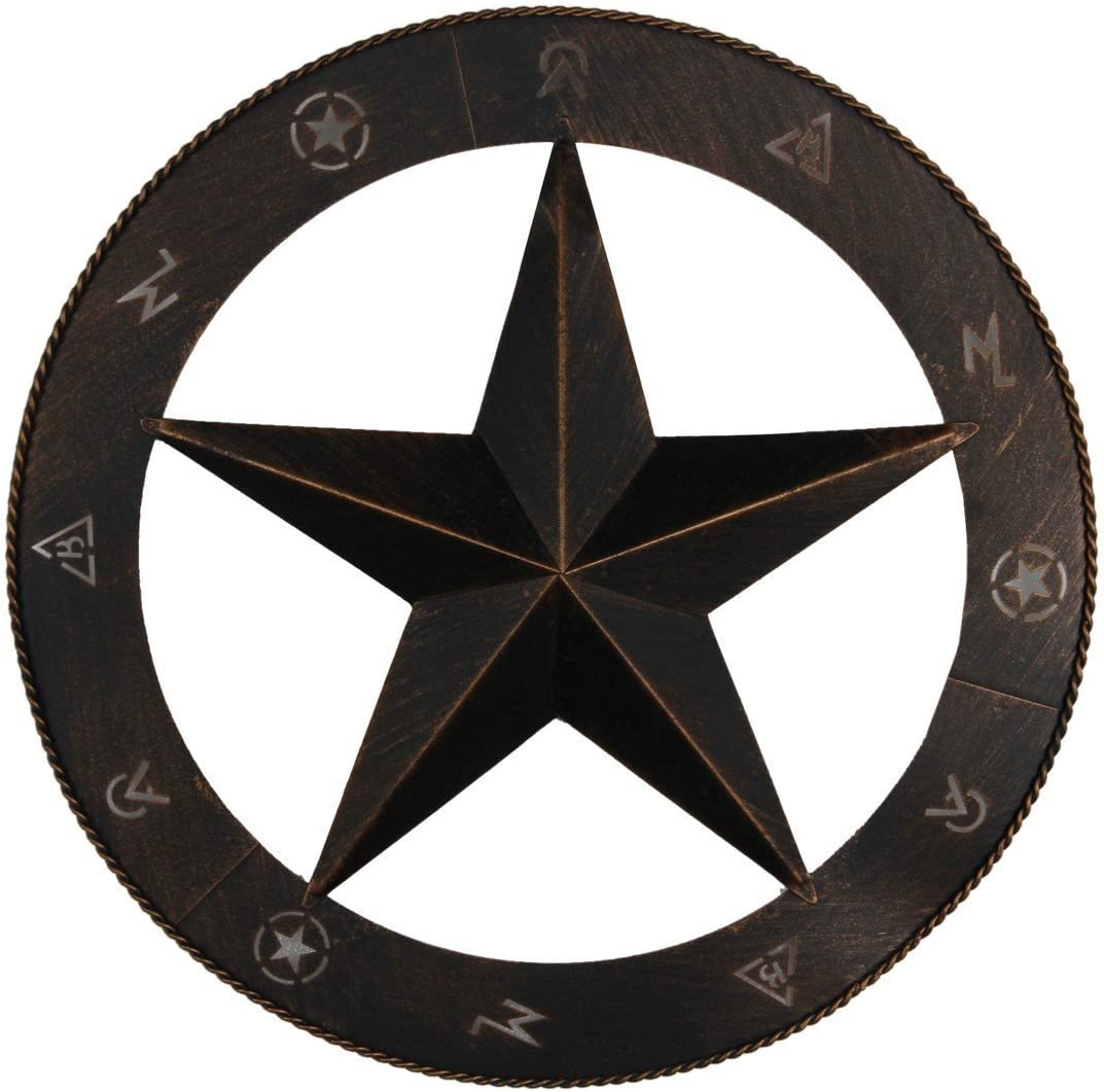 "EBEI Metal Star Wall Decor Wall Art 15"" Vintage Metal Bran Circled Star Western Home Wall Decor"