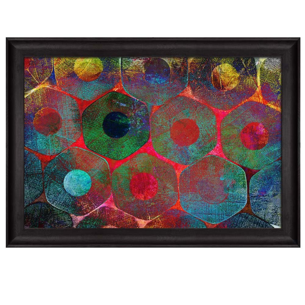 abstract painting of circles and octagons placed in an