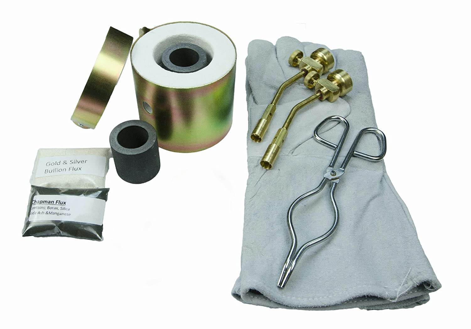 Mini Propane Gas Furnace - Kiln, Flux, 2- Tips, Leather Gloves, 2-Crucibles, Tongs - Kit FFC-7 - Melts in 10 Minutes - Melt Rings, Chains, Gold Nuggets - Flour Gold - Make Jewlery - MADE in the USA The Fast Furnace Company