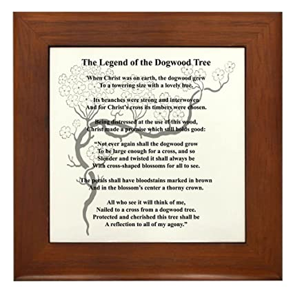picture about Legend of the Dogwood Tree Printable referred to as CafePress Dogwood Tree Legend Framed Tile, Ornamental Tile Wall Placing
