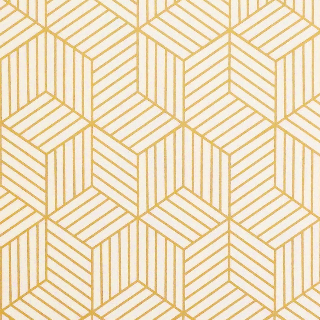 197''x17.7'' Gold and Beige Geometry Stripped Hexagon Peel and Stick Wallpaper Gold Stripes Wallpaper Luxury Paper Removable Self Adhesive Vinyl Film Decorative Shelf Drawer Liner Roll by CocoWind