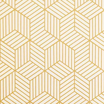 Amazoncom Gold And Beige Geometry Stripped Hexagon Peel And Stick