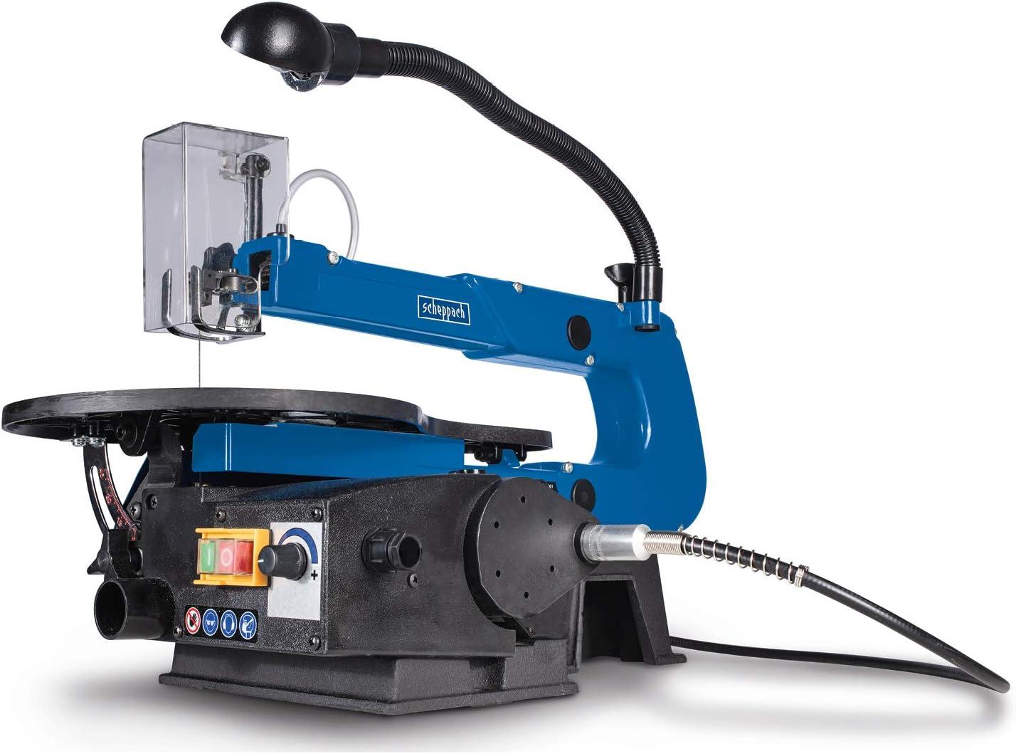 SCHEPPACH Deco-Flex Sierra de Marquetería con Velocidad Variable (550-1600rpm),Soplador, Luz de trabajo y potente motor de 125W, Azul