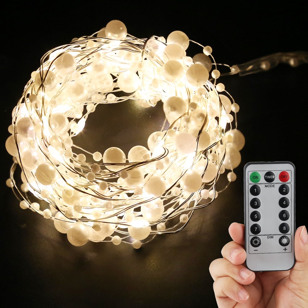 Accmor 2 Pack Fairy String Lights, Battery Operated 8 Modes 50 LED 16.5ft Twinkling Lights for Indoor/Outdoor Patio Bedroom Christmas Halloween Thanksgiving day Lights (White Pearl)