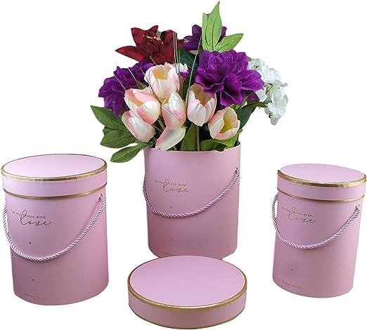 Juego de 3 cajas decorativas con tapa, diseño de ramo de flores, caja de regalo redonda, caja de regalo con cordón, color rosa: Amazon.es: Hogar