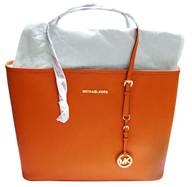 ef5157ec6afd Michael Kors Jet Set Orange Saffiano Leather Shoulder Bag  Handbags   Amazon.com