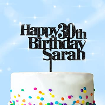 Happy Birthday Cake Topper Mit Name Personalisiert Und Jedes Alter Glitzer Acryl Personalisierbar Jedem Namen