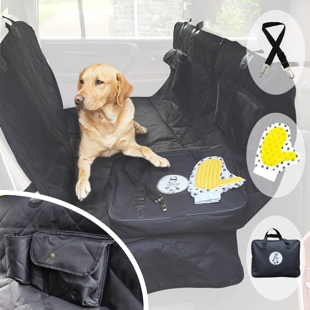 Dog Car Seat Cover for Pets – Heavy Duty Luxury Rear Seat Hammock Protector – Waterproof Backseat Cover Split Zip Non-Slip Scratchproof Pet Cat Blanket for Cars Trucks and SUVs – Large Universal Black
