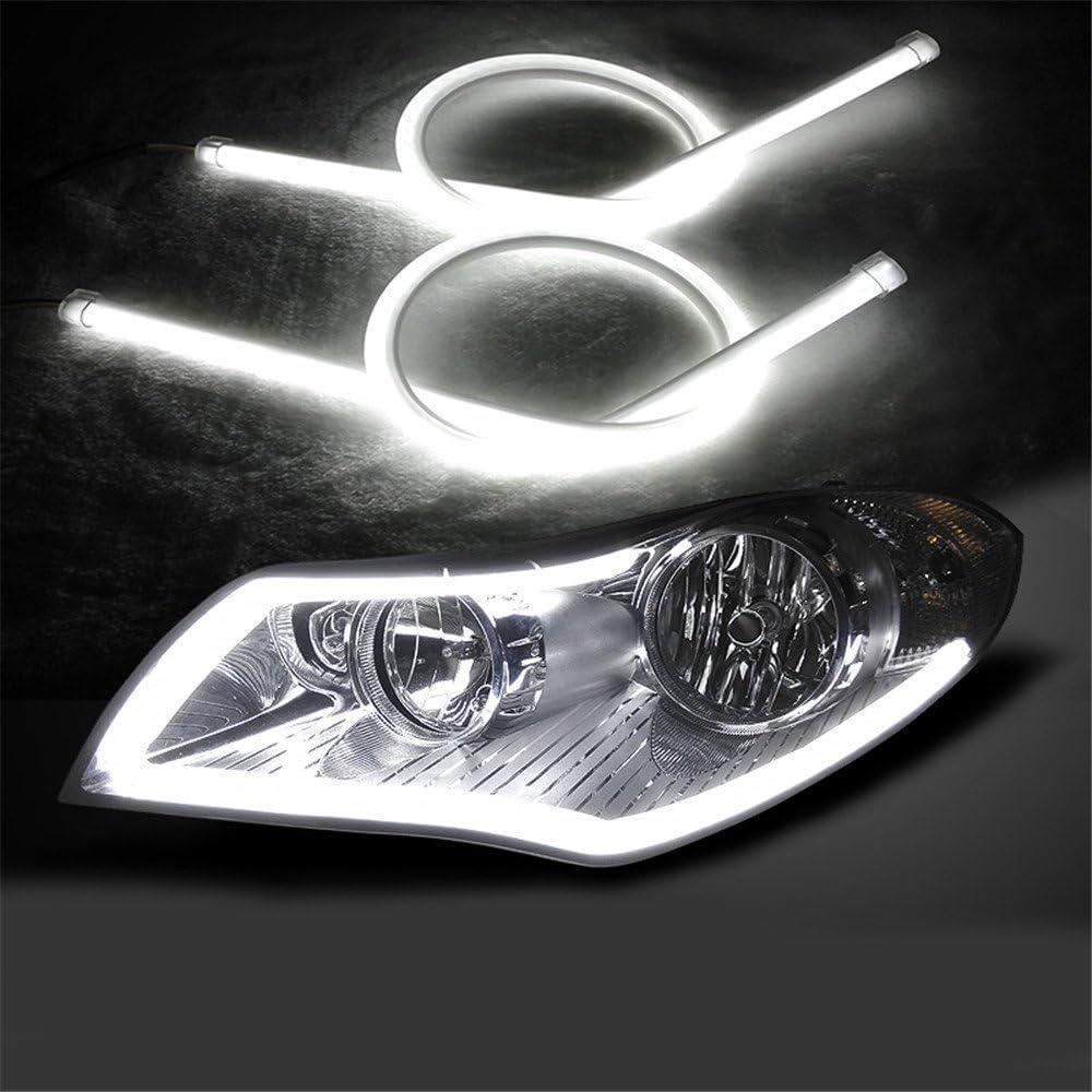 2X 60CM Flexible Tube Guide Car LED Strip White DRL Amber Turn Signal Light DIY