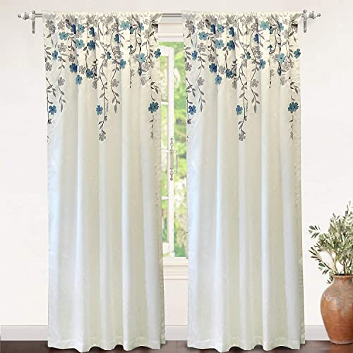 DriftAway Isabella Faux Silk Embroidered Window Curtain Embroidered Crafted Flower Lined with Thermal Fabric Single Panel 50 Inch by 108 Inch Ivory Blue