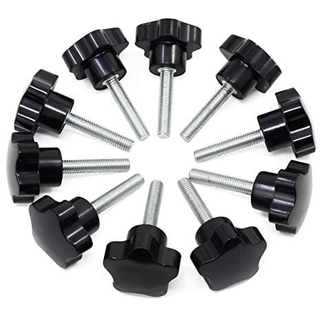 Hseamall 10PCS M8x40 Perilla de sujeción de rosca Perilla de mano de plástico negro Forma de