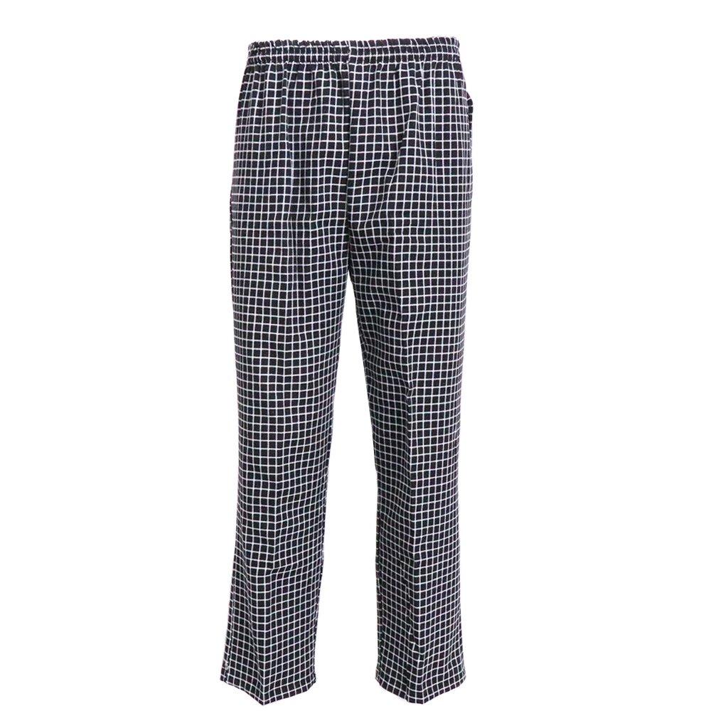 LOVIVER Pantalones Holgados de Cocinero Unifore de Trabajo Traje de Camarero de Hotel Cintura Elástica con Cordón Ajustable - TypeL Black Check