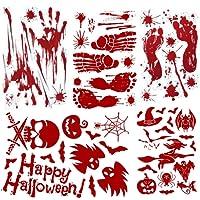 Halloween Autocollants Fenetre Decoration Stickers Autocollants d'halloween Empreintes de Mains pas Toile d'araignée Sorcière Chat Fantôme Citrouille etc