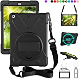 ZenRich New iPad 9.7 2017 2018 Case,360 Degree Rotatable with Kickstand,Hand Strap and Shoulder Strap case, zenrich 3…