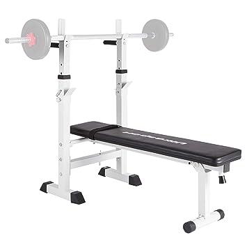 Ultrasport H250 Banco de musculación con sistema de barra de fondos y soporte de pesas, para press de banca y entrenar tríceps, correa para usarlo ...