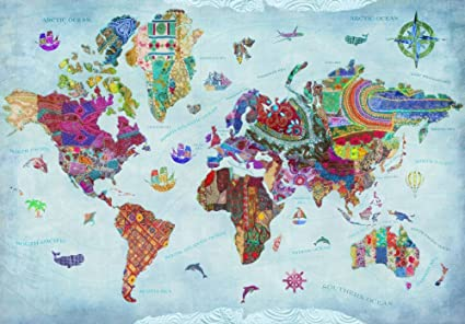 Amazon.com: World Map Quilt (Variant 1) Poster Print by Aimee ...