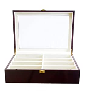 Roomganize Luxury Eight-Compartment Sunglasses Organizer and Jewelry Case (Cherry)