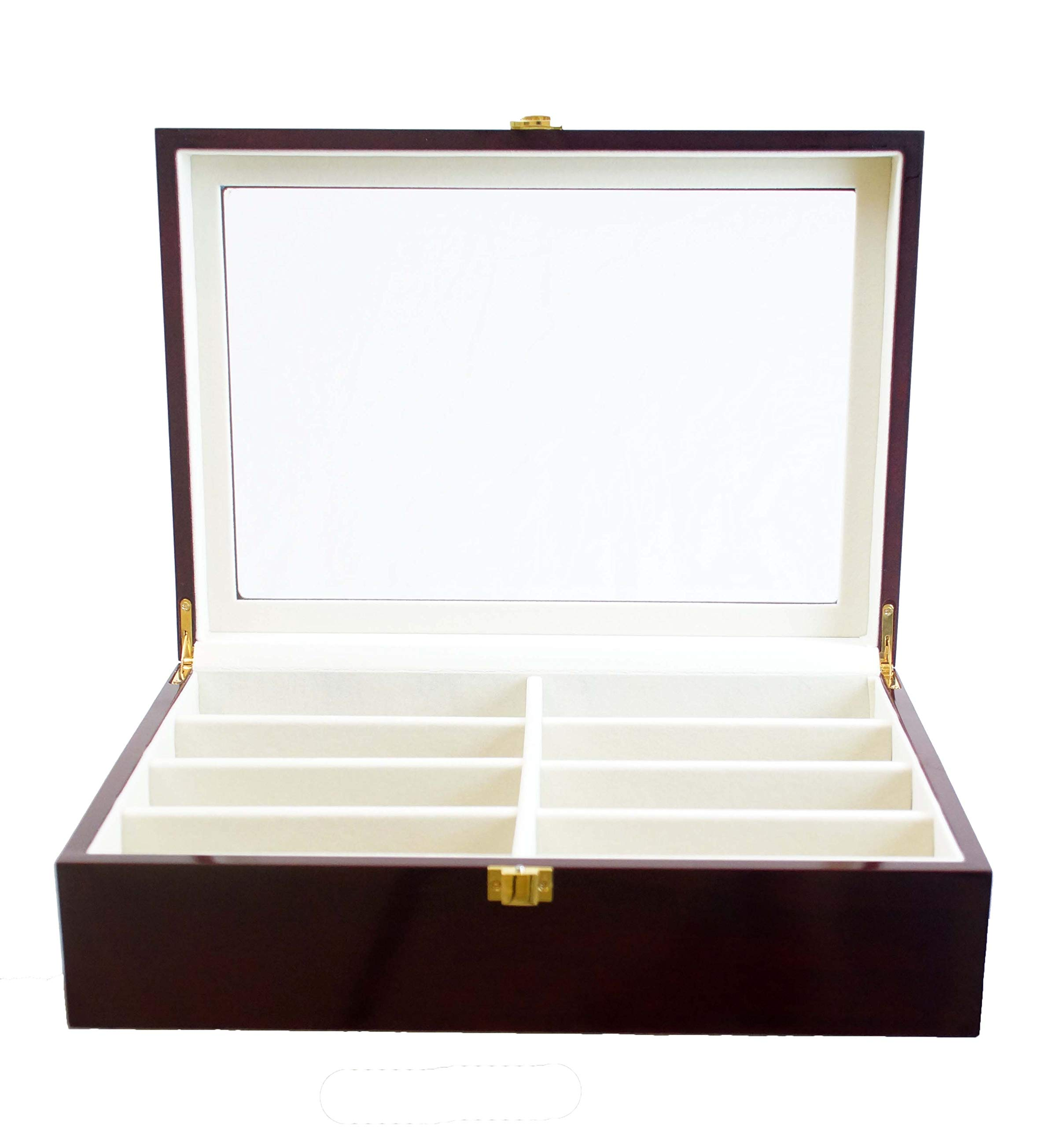 Luxury Eight-Compartment Jewelry Organizer and Watch Box is Ideal for Anyone with Multiple Pairs of Specs. This Sunglasses Case Protects Your Eyewear and is a Convenient Dresser Organizer