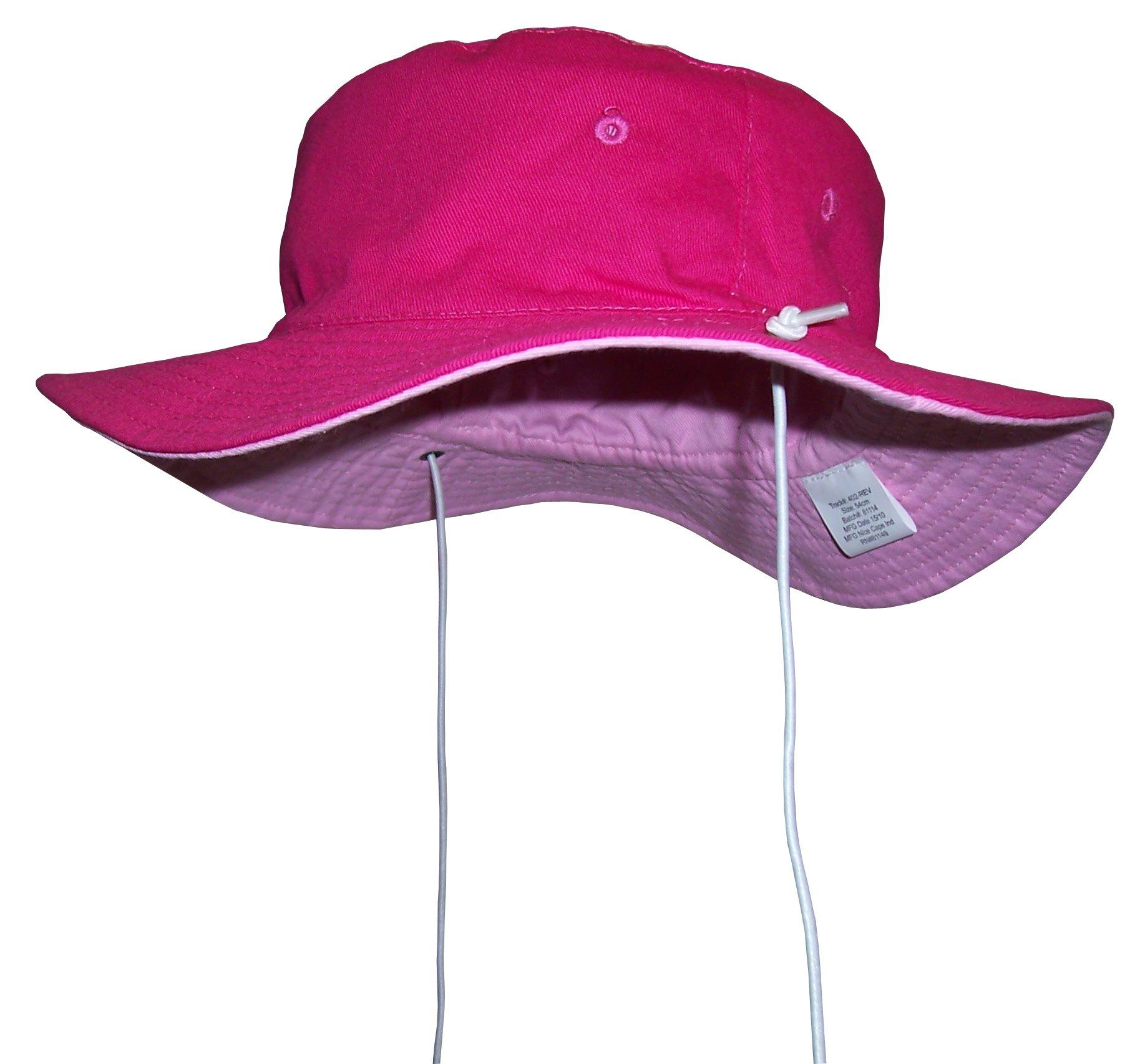 N'Ice Caps Kids Reversible Adjustable Cotton Twill Aussie Sun Protection Hat (Fuchsia/Pink 1, 56cm(22'') 4-6yrs)