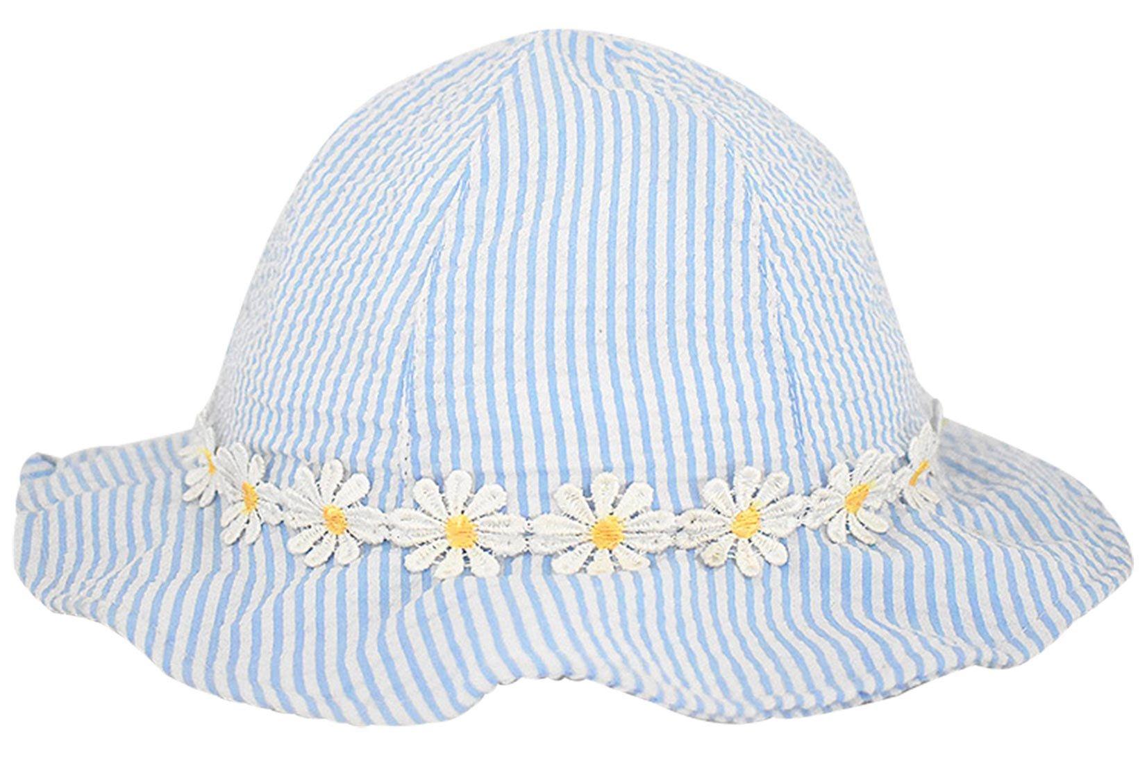 Happy Cherry Baby Girl Sun Hat Flowers Stripes Sun Protection Bucket Hat Kids' UPF 50+ Sun Protection Wide Brim Safari Bucket Hat For 10-24 M Blue