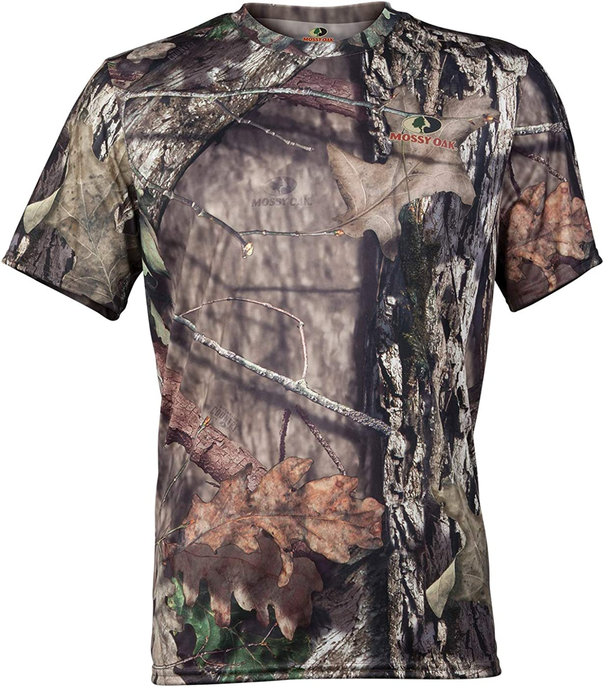 Mossy Oak Size M-2XL Moisture Wicking Short Sleeve Mens Camo Tee Shirt
