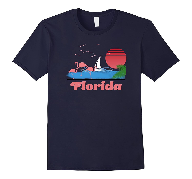 Florida T-Shirt - FL Retro 80s Flamingo Surf Tee-Shirt-T-Shirt