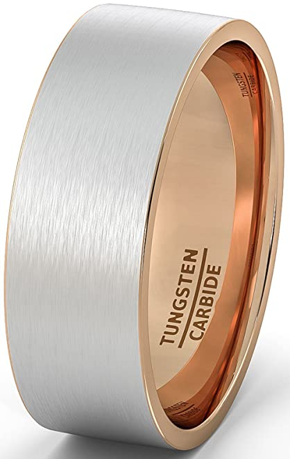 mens wedding band two tone tungsten ring 8mm brushed matte rose gold inside flat edge comfort