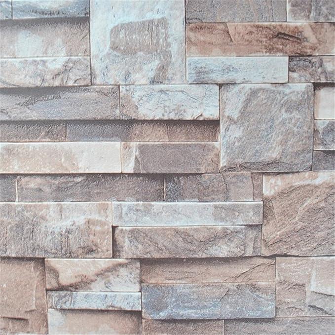 Carta da parati Cucina 3D effetto in rilievo di pietra di mattoni Wallpaper  Vinile Natura Marrone Grigio Muro di mattoni Rotolo di carta per le pareti  ...