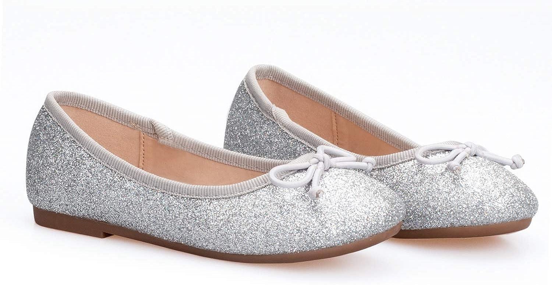 ADAMUMU Girls Dress Shoes Elastic Mary Jane Flat Glitter Ballerina Flats for Little Kids Sparkle Princess Ballet in Birthday Party Dailywear