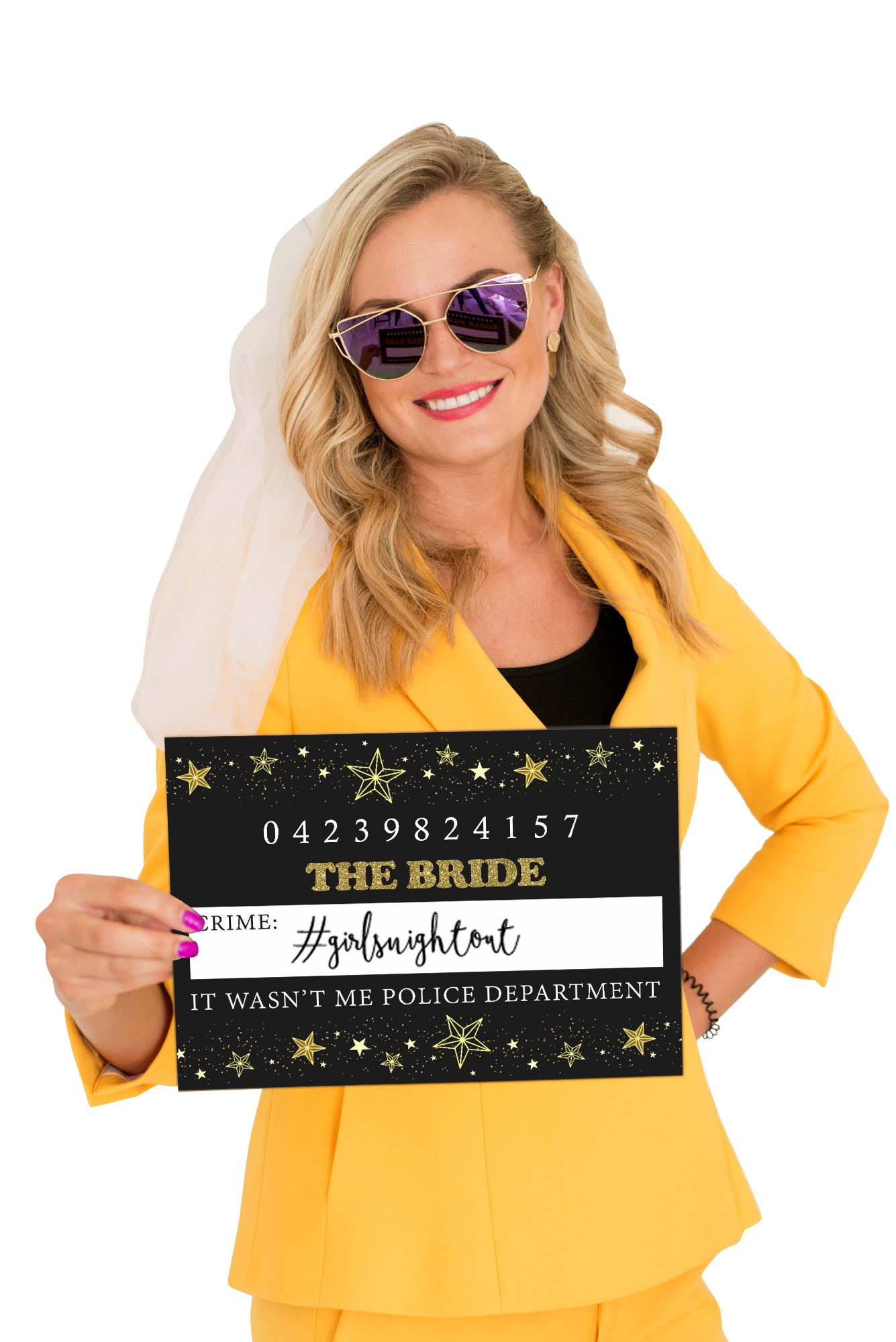 Weenca Bachelorette Party Mugshots-Funny & Hilarious Party Mugshots For Girls Night Out-20 Reversible Mugshot Signs-40 Variations